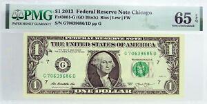 2013 $1 FRN Chicago Fr#3001-G Serial Number Ink Error Note PMG Gem UNC 65 EPQ