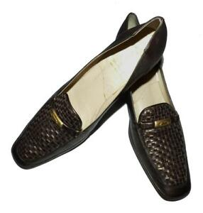 $240 AMALFI ITALY BRONZE LEATHER MID HEEL 10 / 10.5 woven SQUARE toe SHOE chic