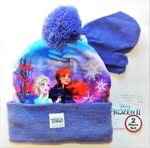 Disney Frozen 2 Anna&Elsa Punto Sublimado Gorro de Invierno Y Mitones Set