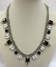 White Silver Chain Material Girl Necklace Spike And Stone Black