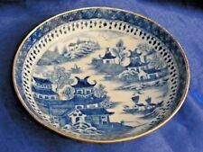 ANTIQUE BLUE & WHITE ORIENTAL DESIGN DISH GILT RIM OLD CERAMIC DECORATIVE  DISH