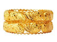 Indian Gold Plated Bracelet Kada 2pcs Women Bangle Set Fashion Jewelry Bsv16