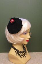 1940s LOOK HAND CROCHET BLACK MINI BERET WITH RED FLOWER  DECORATION