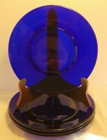 Set of 4 Cobalt Blue Glass Plates 8 1/4 Inches