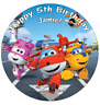 "Super Wings Personalised Birthday Cake Topper Edible 7.5"" Wafer Cake Decoration"