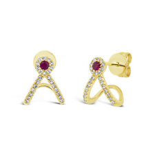 0.22tcw 14k Yellow Gold Natural Real Round Ruby Diamond Stud Cuff Drop Earrings