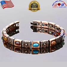 BEAUTIFUL COPPER MAGNETIC GOLF BRACELET WOMEN ARTHRITIS PAIN MULTI GEMSTONE X37