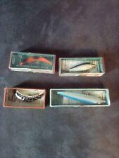Vintage Fishing Lure Lot Rapala Wobbler Lazy Ike Abu 4 Lures Original Box Papers