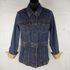 Eddie Bauer Denim Jacket Women Size S Blue Stretch Floral Cuff