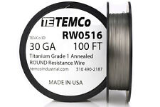 TEMCo Titanium Wire 30 Gauge 100 FT Surgical Grade 1 Resistance AWG ga