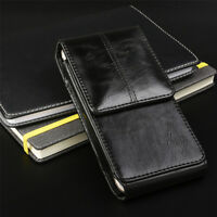 Vertical Business Men's Leather Cell Phone Pouch Case Cover Belt Loop Holder US