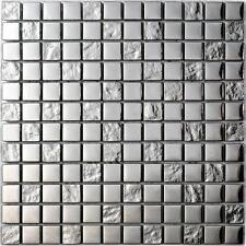 LUXURY SILVER   12 x 12 Spanish glass mosaic tile for Backsplash or shower