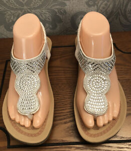 Kasara Diamanté White Thong Sandals Size 8