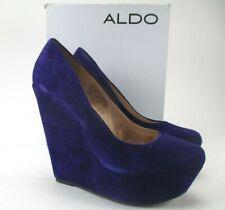 Aldo Leather Suede Wedge Heel Blue Purple Terina 51 Size EUR 40/ US 9.5