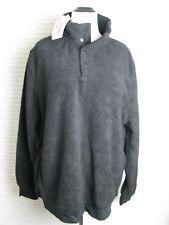 Jachs Men's Cabin Sherpa Pullover Black Large 1/4 Snap Sweater Jacket SZ XL