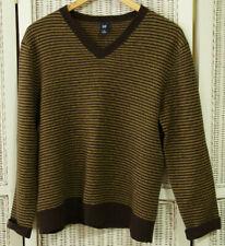 GAP Two-Tone Brown Striped Wool Jumper L 40″ Women's Men's Unisex V Neck Sweater