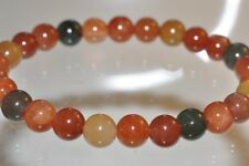 "7"" Precious Gems~Mixed-Color Rainbow RABBIT HAIR QUARTZ  Stretch Bracelet B1153"