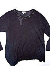 Joseph A  Black shimmer crystal embellished neckline Sweater plus size 2X