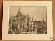 MILAN CATHEDRAL ITALY ANTIQUE MOUNTED ENGRAVING c1890