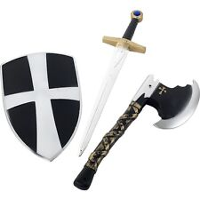 Boys Knight Fancy Dress 3 Piece Set Sword, Shield & Axe Crusader Toy New Smiffys
