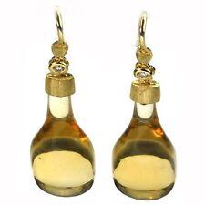 De Buman 22.90ctw Genuine Citrine & Diamond Solid 18K Yellow Gold Earrings
