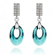 18K White Gold Plated Made With Swarovski Crystal Elegant Teal Moon Earrings