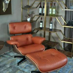 Walnut TAN EAMES-STYLE Armchair and Ottoman 100% Genuine Leather Lounge Chair