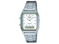 Casio AQ-230A-1D Casio Silver & White Dual Time Watch AU