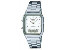Casio AQ-230A-1D Casio Silver & White Dual Time Watch AU