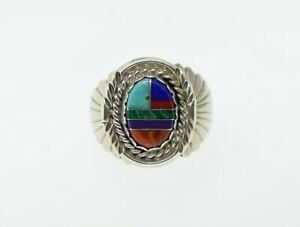 Navajo Richard Begay Sterling Silver Multi Stone Inlay Ring Sz 10