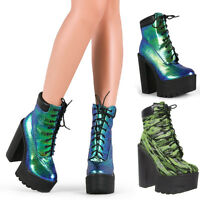 New Womens Chunky High Heel Platform Lace Up Military Combat Booties Ankle Boots