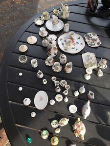 Miniature Tea Set Lot 65 Pcs 9 Styles Vintage Old