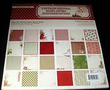 """MME Cardstock Paper Stack Pad Vintage Christmas 48 sheets 12"""" x 12"""" Scrapbook"""