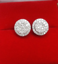 DEAL! 1.00CT NATURAL ROUND DIAMOND CLUSTER STUD EARRING IN 14K GOLD 9MM