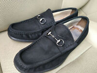 Gucci Horsebit Vintage Mens Suede Loafers Shoes Flats Black Leather