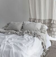 LINEN SHEETS SET with ruffles. 4 pieces-flat ruffled, fitted 2 ruffled pillows