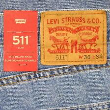 Levis 511 Slim Fit Jeans Mens New Size 36 x 34 LIGHT STONEWASH Zipper Fly Levi's