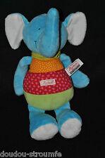 Peluche Doudou Eléphant SIGIKID Schmusetuch Bleu Vert Rouge Orange 28 Cm TTBE