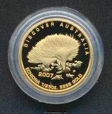 2007 Australia Discover Australia 1/25oz $5 Gold Proof Coin Echidna 99.99% Pure