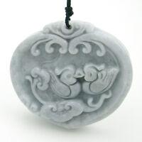 Natural Jadeite Jade Amulet Pendant Happy Lucky Love Birds Mandarin Ducks