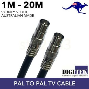TV Antenna Cable PAL Male to Male Aerial Flylead Coax RG6 Quad shield Black
