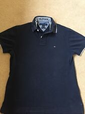 BOY'S TOMMY HILFIGER Blu Navy Polo Top, Taglia S/P, slim fit, doppio colletto