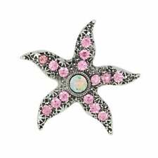 Starfish Pink Crystal Silver Tone Fridge Magnet