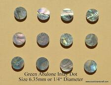 "1 set of 12 green abalone dot shell blanks 6.35mm or 1/4"" premium"