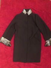 Roberto Cavalli Black Wool Coat W/ Silver Detail, Sz 40