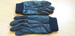 Calvin Klein CK Leather Gloves Medium Men Black biker winter boy work safety top