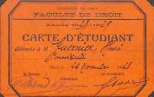 """CAEN """" CARTE D' ETUDIANT FACULTE DE DROIT """" 1928"""