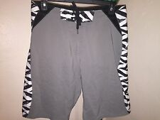 Men's Rusty Stretch Gray w/Zebra Side Boardshorts Sz 34