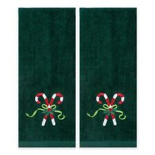 "2-Pc Candy Cane Embroidered Bath Hand Towel in Evergreen 28""x16"" Nwt"
