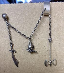 Original 1980s Silver Punk Goth Earring Cuff Pirate Skull Sword